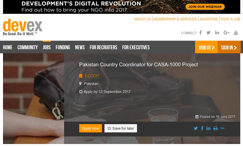 USAID financed CASA-1000 IGC hiring Pakistan Country Coordinator