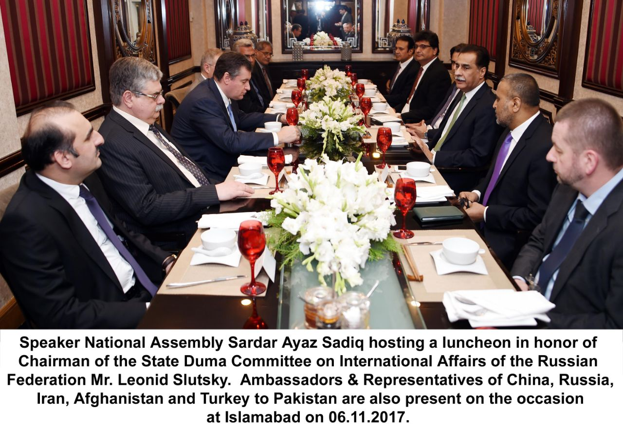 Chairman Russian State Duma Committee on International Affairs Leonid Slutsky meets Speaker National Assembly of Pakistan